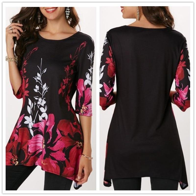 Camiseta de verano Casual Irregular con estampado Floral para mujer, camiseta de media manga suelta de talla grande, ropa de mujer, Camisa larga elástica, camisetas de verano