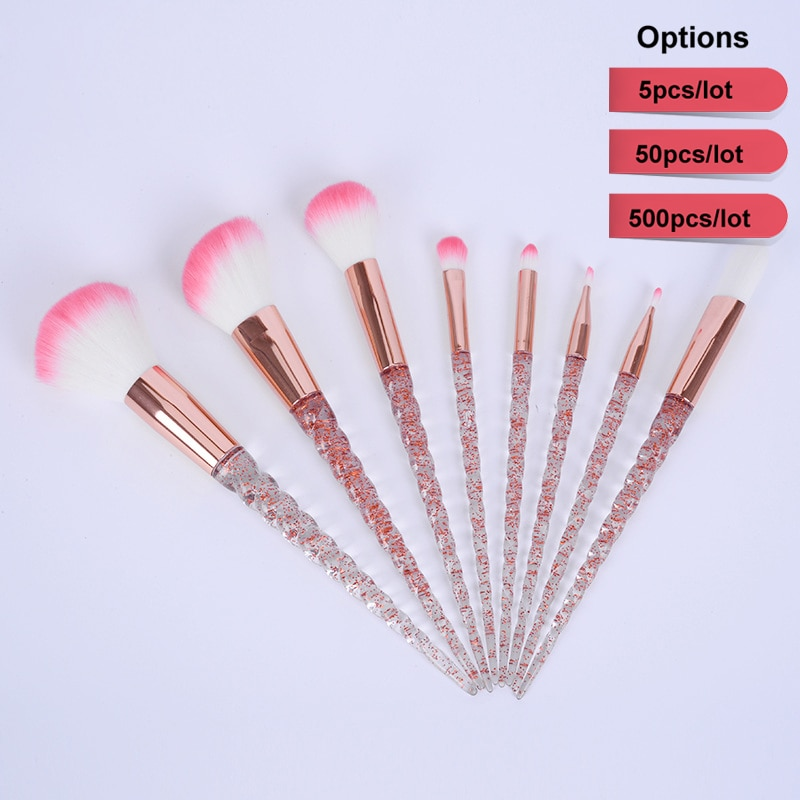 50set Wholesales Rose Gold+clear Unicorn Portable Makeup Brush Kit Eye Shadow Highlighter Glitter Eyebrow Brush Foundation Brush