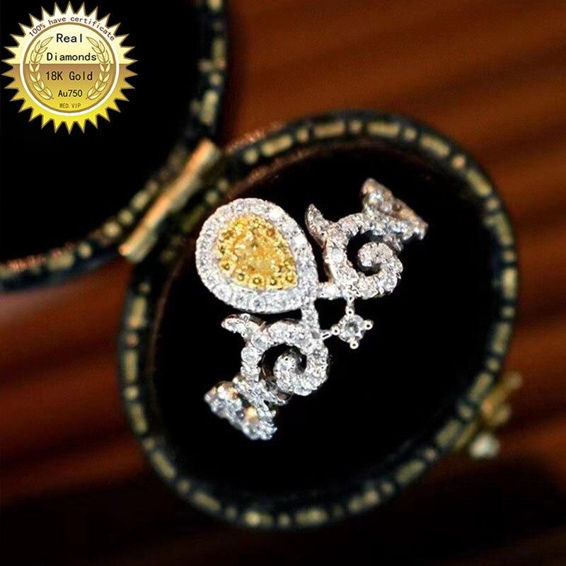 18k الذهب الأبيض الطبيعي الحقيقي 0.7ct خاتم الماس والمجوهرات خاتم الخطوبة وخاتم الزواج D-A005