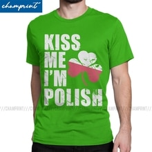 Men's Kiss Me I'm Polish St Patrick's Day T Shirts Irish Green Shamrock Tops Funny Short Sleeve Round Neck Tees 5XL T-Shirts