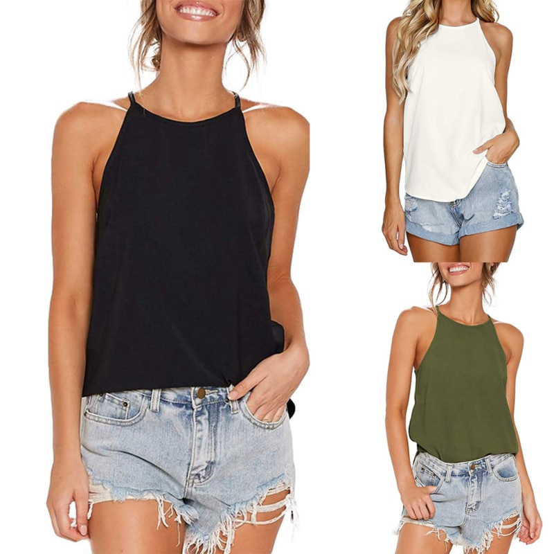 Women Tank Top Woman Halter Top Plus Size Summer Sexy O Neck Sleeveless Tops Vest Female 2020 OL Shirt Tops Women 2021 summer top women sleeveless lace tank top sexy women s t shirt vest tank tops female vest tops white black underwear women