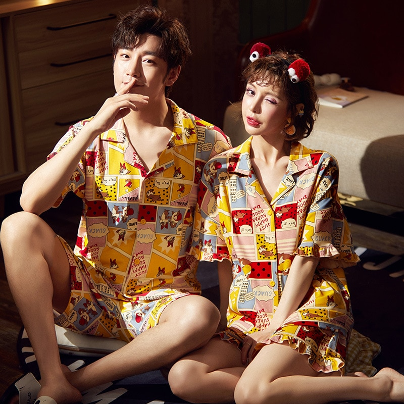 Pijamas coreanos de manga corta de ardilla para parejas, Pijamas para Mujer, ropa de dormir para hombres, Pijamas para parejas, ropa de casa XXXL