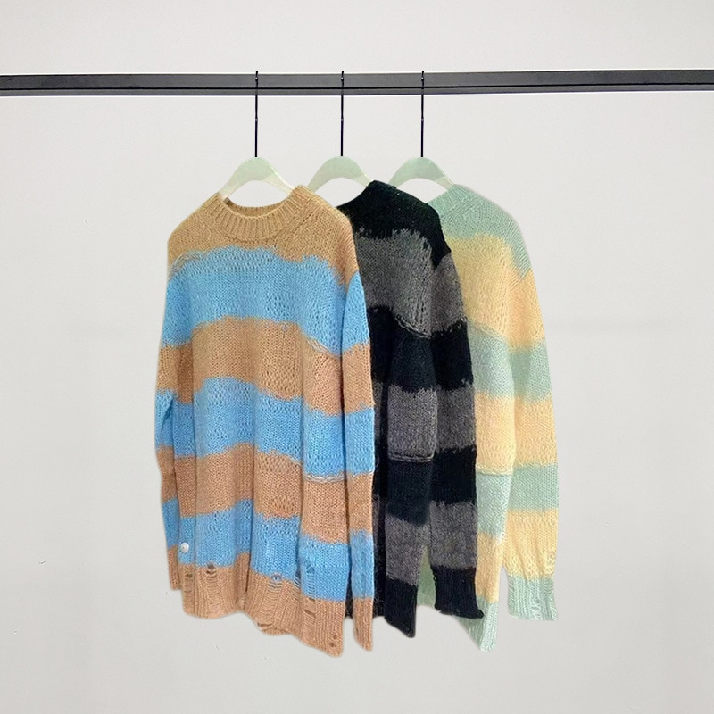 2021 Fashion Classic Brand luxury design Loose hook hole color matching striped Casual women sweater autumn winter new a3 enlarge