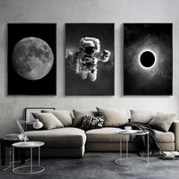 black and white astronaut and moon canvas painting poster and prints space wall art pictures for living room decor