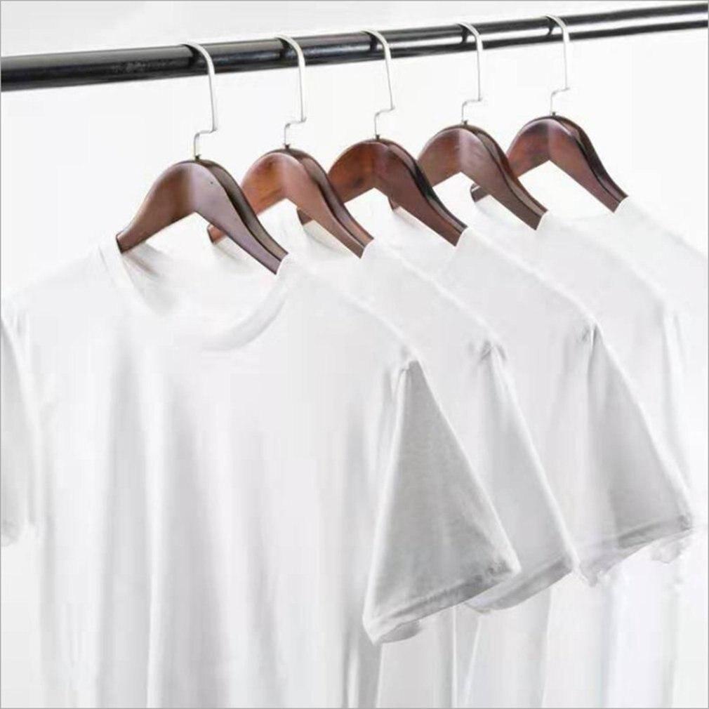 Camiseta blanca pura de verano para hombre, Camiseta de algodón y poliéster de manga corta con cuello redondo, mangas y dobladillo cosidos dobles de verano 1 Uds