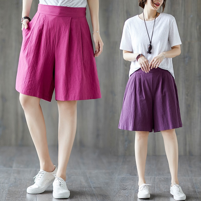 2020 Summer New Artistic Retro Stretchy High Waist Slimming Cotton Linen Cropped Pants Loose Large S