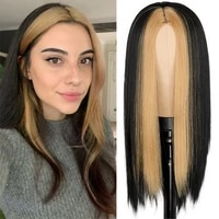 black long straight wig for women both sides brown hair middle part heat resistant wavy cosplay wig for girl