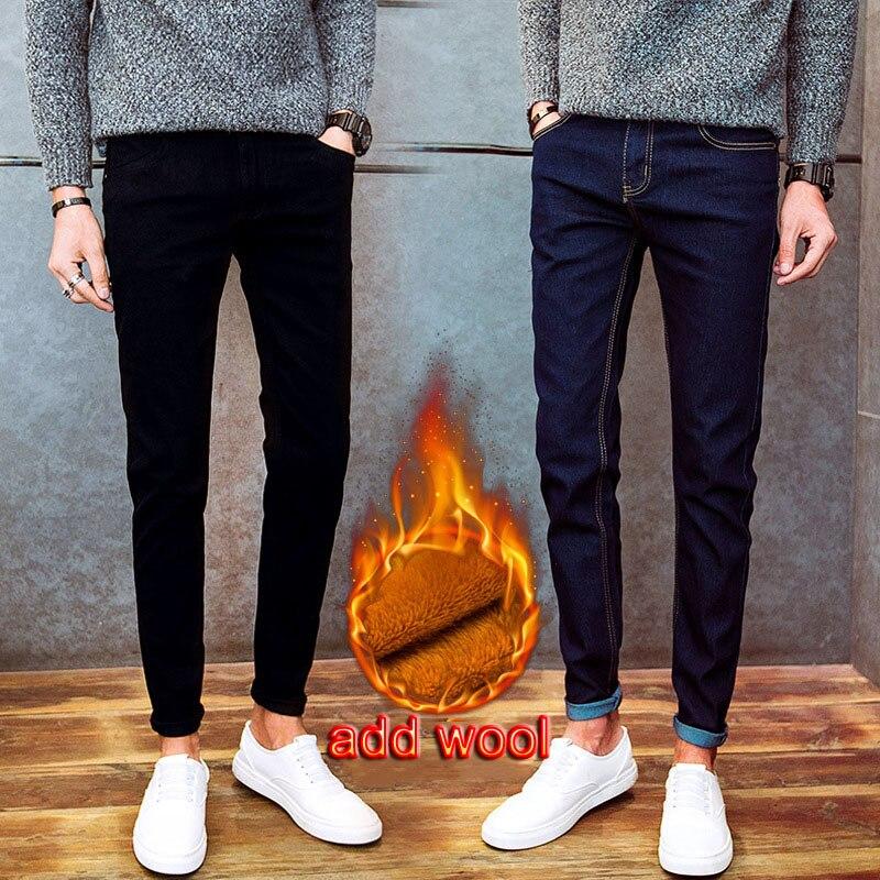 Caliente 2020 Otoño Invierno Casual thicken polar térmico para hombres agregar lana Denim adolescentes pantalones lápiz elástico jeans calientes para hombres