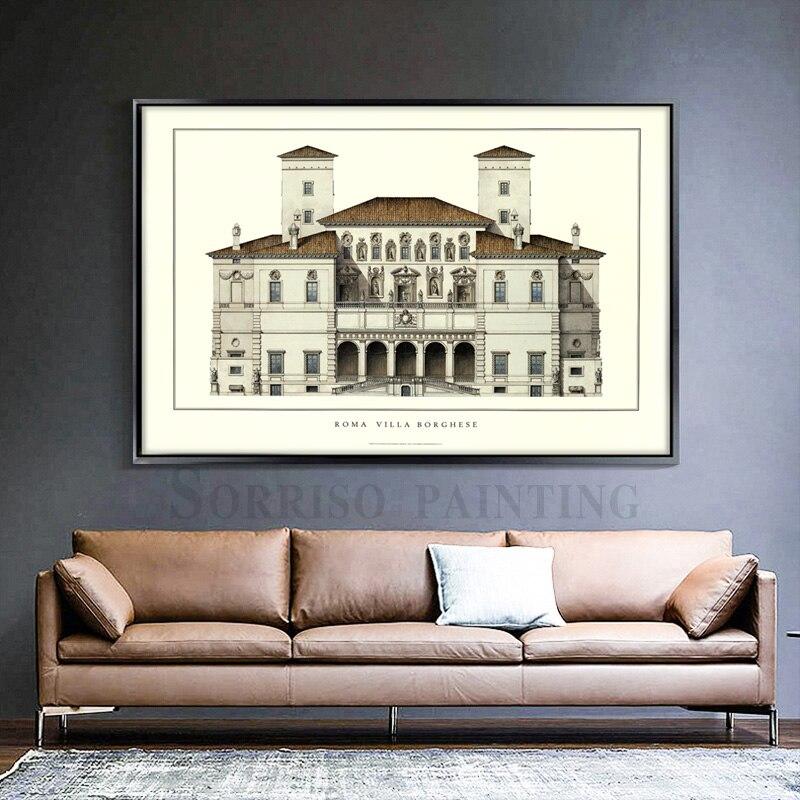 Pintura em tela com quadro arte da parede gouache rua paisagem cartazes e impressões fotos para sala de estar decoração para casa obras de arte