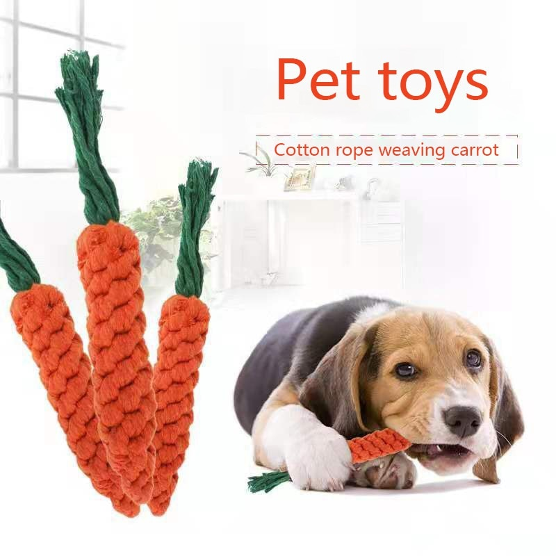 Dog Carrot Clean Teeth Rope Toys Fashion Cartoon Rural Style Durable Home Essentials Dog Chewing Toys Carrot Pattern