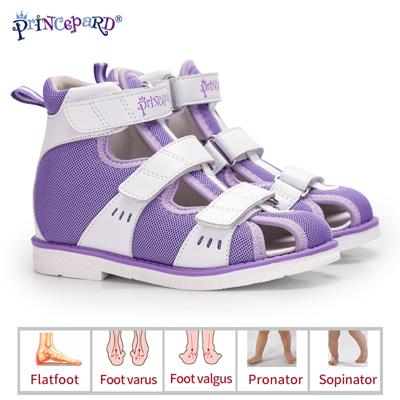 Princepard Children Orthopedic Shoe Closed Toe Toddler Girls Boys Sandals for Flat Feet with Arch Support Orthotic Insoles enlarge