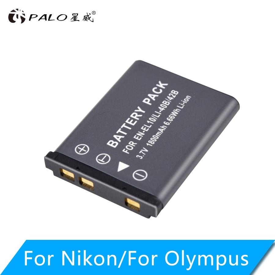 PALO 3,7 V 1800mAh Li-40B Li40B Li 40B Li-42B EN-EL10 EN EL10 ENEL10 батареи для цифровой камеры Olympus Nikon Fujifilm Kodak