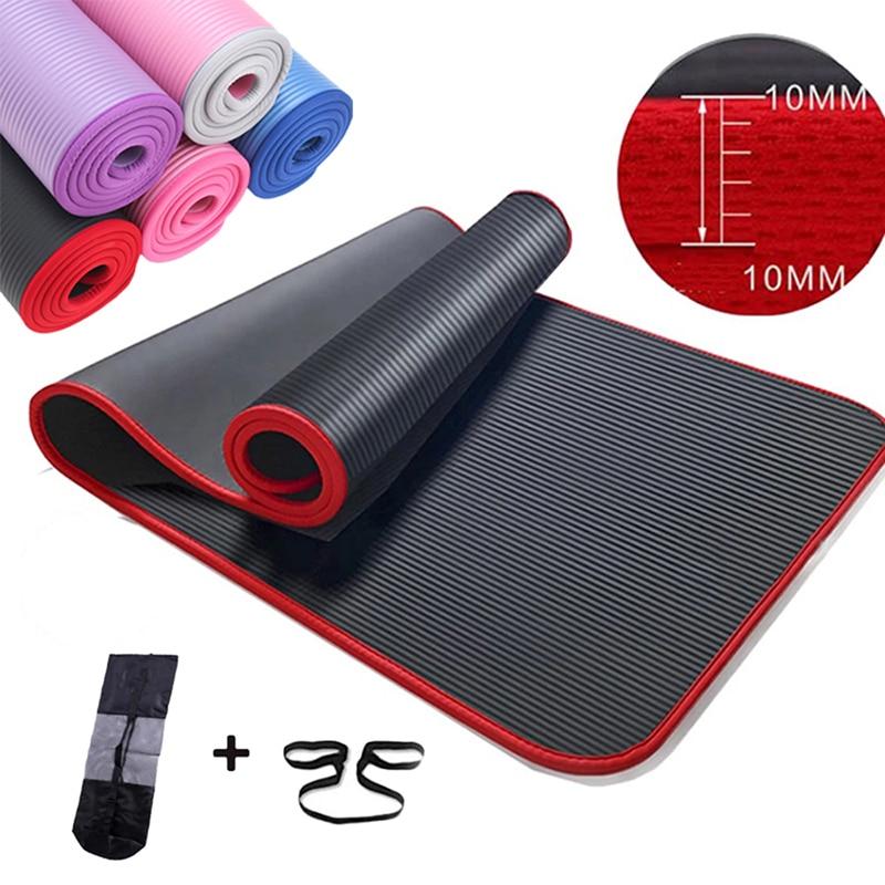 10Mm Extra Dikke 183X61cm Hoge Kwaliteit Nrb Antislip Yoga Mats Voor Fitness Smaakloos Pilates Gym Oefening Pads met Bandages