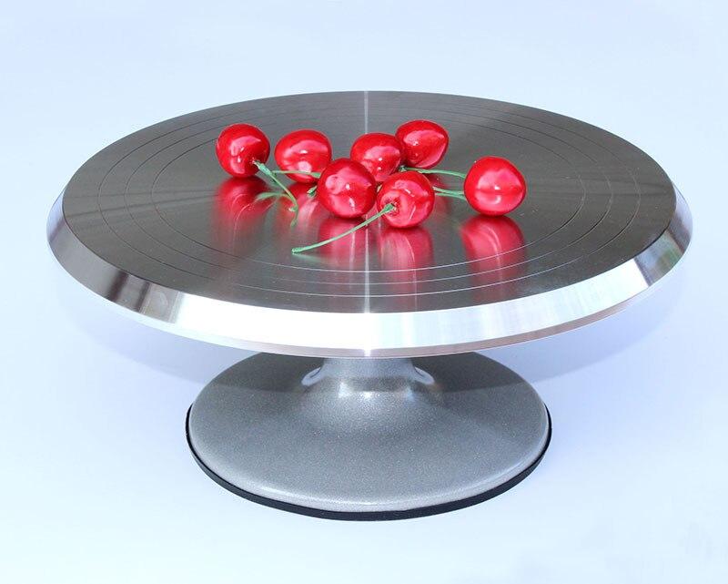 Herramienta de horneado, base giratoria para mesa giratoria de metal plateado para decoración de pasteles y crema montada en aleación de 12 pulgadas