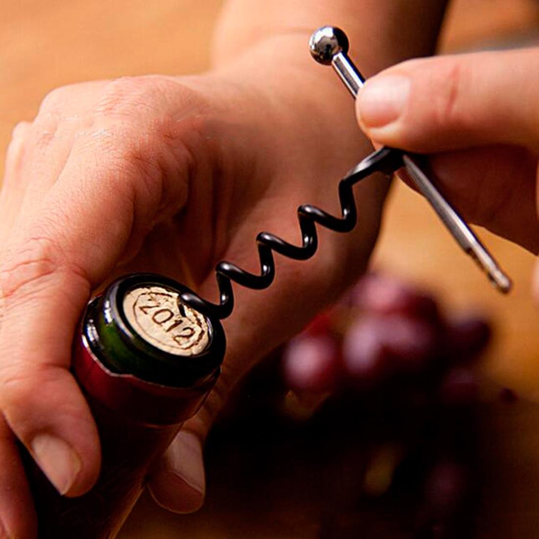 Многофункциональный мини-штопор из нержавеющей стали красного цвета, открывалка для винных бутылок с кольцом, брелок, открывалка для бутыл...