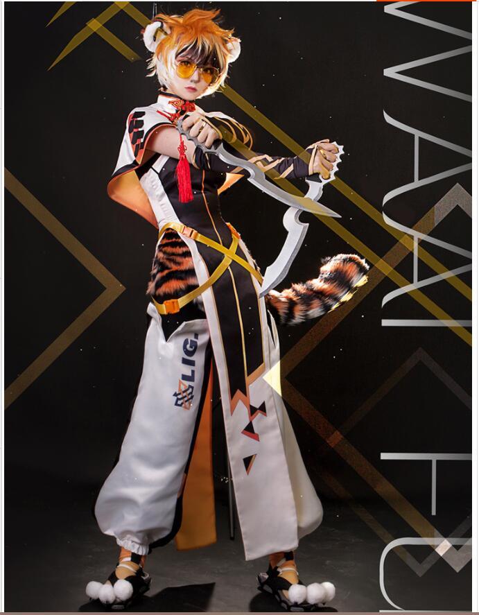لعبة الفرسان الصفيراء اليابانية تأثيري ازياء وكيل خاص النمر الصغير زي قتال موحد دعوى آذان الذيل لعب الأدوار الملابس