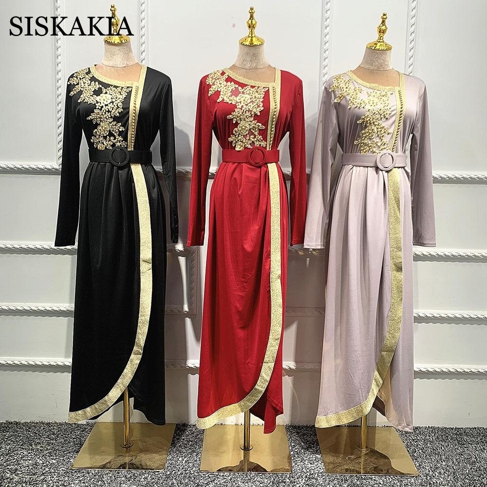 Siskakia عيد مبارك عباءة ثوب مسلم للنساء دبي تركيا العربية المغرب الملابس الإسلامية المطرزة 2021 جديد