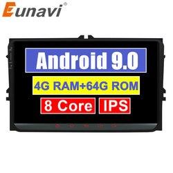 Eunavi 2 din rádio do carro multimídia android 9 gps para vw volkswagen passat b6 polo golf magotan assento áudio auto 8 núcleo 4g 64 gb ips