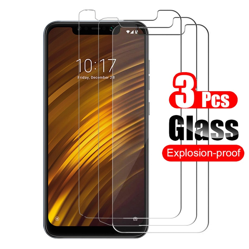 3pcs Tempered Glass for Xiaomi Pocophone F1 Poco phone F1 Screen Protector 9H Protective Film