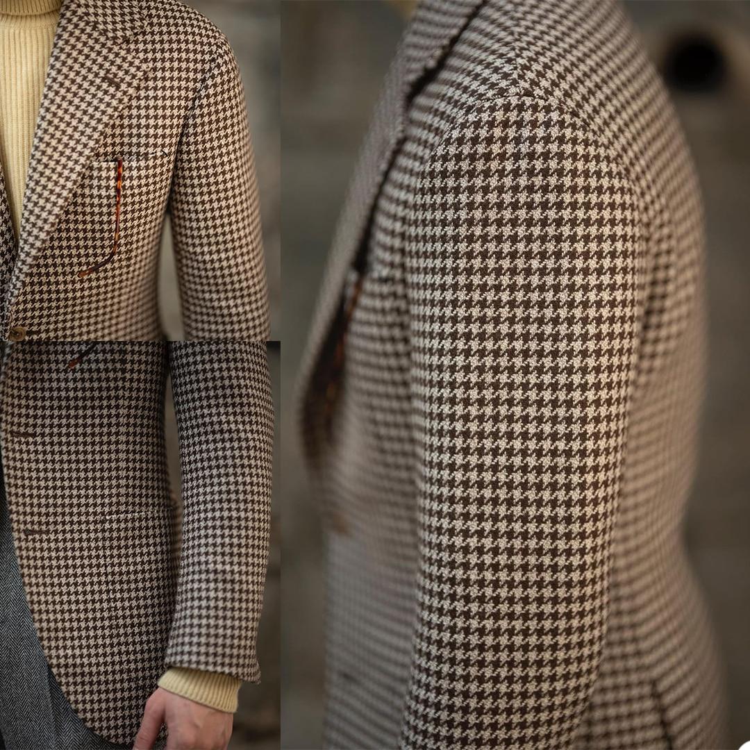 الكلاسيكية منقوشة الرجال البدلات اثنين أزرار محززة التلبيب تحقق السترة انكلترا نمط اليومية الذكية معطف سترة غير رسمية 1 قطعة