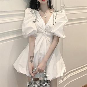 White Solid Summer Dress 2020 New Luxury Silver Diamonds Bow Cute Puff Sleeve Sexy V-neck Runway Fashion High Street Bud Dresses