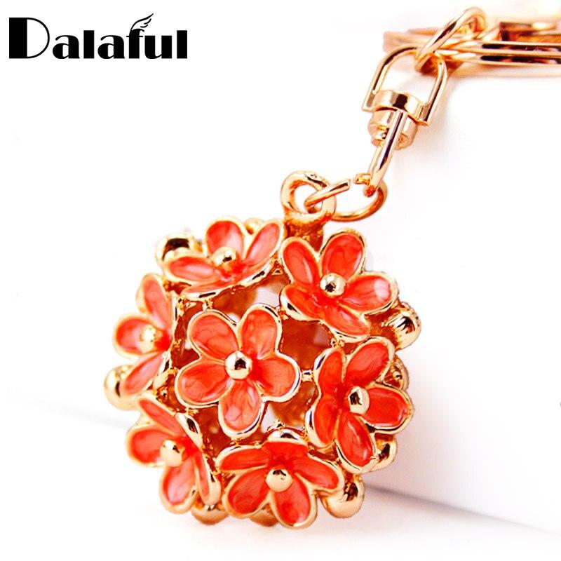 Dalaful Chic полые цветок металлические цепочки кольца для ключей Изысканный кошелек сумка Пряжка Подвеска для автомобиля Брелки K296