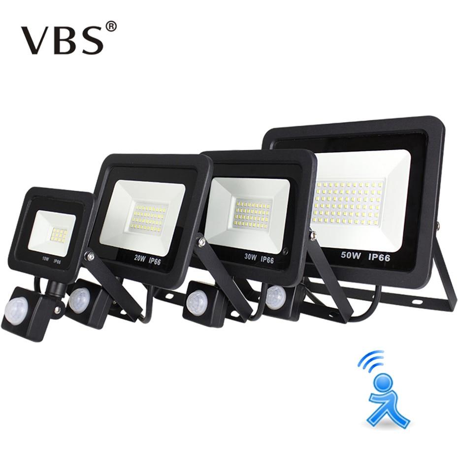 10W 20W 30W 50W LED Flood Light Motion Sensor Waterproof AC200-240V LED PIR Floodlight Reflector Projector Outdoor Spotlight