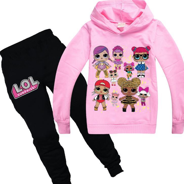 Niños Lol muñeca ropa bebé niñas sudaderas con capucha de manga larga abrigo + Pantalones para niña conjuntos de Invierno 2 uds conjuntos de Navidad para niños