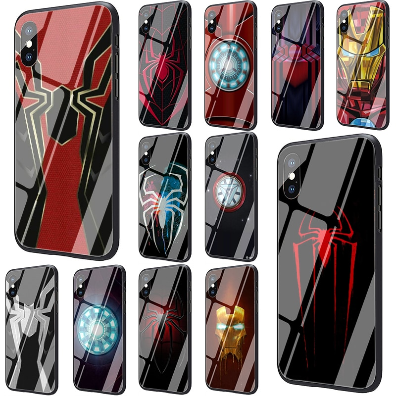 Marvel de hierro hombre araña guerra del infinito de vidrio templado funda de teléfono para iphone 5 5s SE 2020 6 6s 7 7 plus X XR XS 11 Pro Max