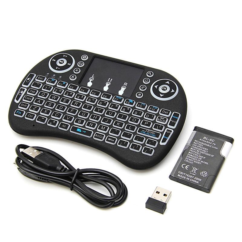 Portátil de 2,4G de retroiluminación Mini teclado inalámbrico Touchpad ratón remoto Control por PC Pad Android TV Box