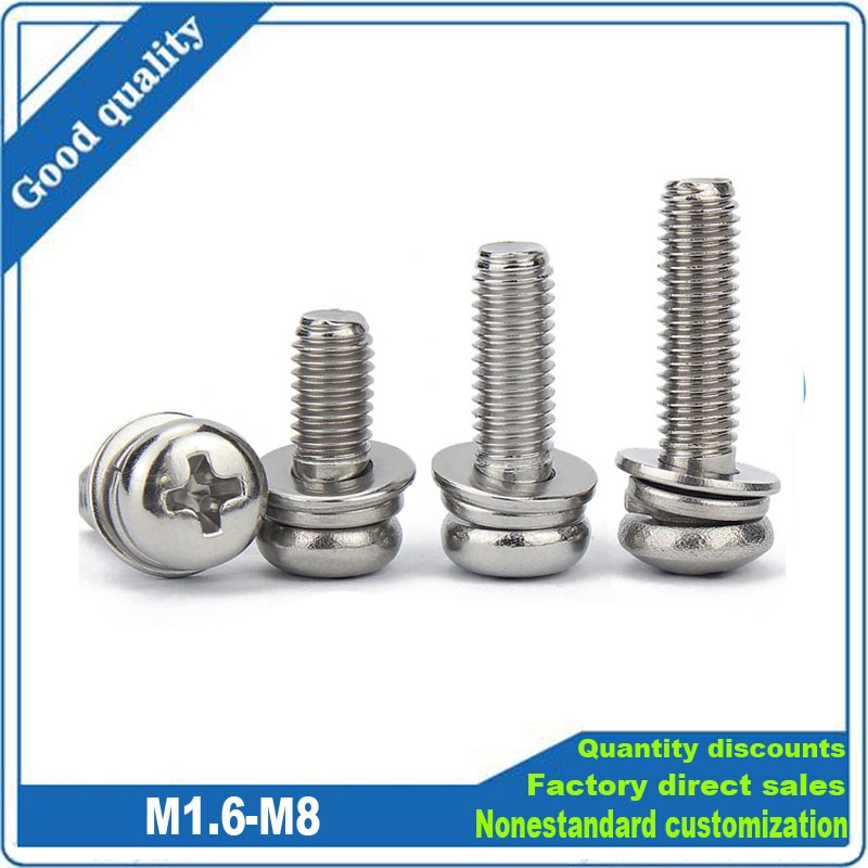 Фото - 304 Stainless Steel Cross Round Phillips Pan Head SEM Screw M1.6 M2 M2.5 M3 M4 M5 M6 M8 Flat Washer Spring Gasket Assemble Bolt axk m1 6 m2 m2 5 m3 m4 m5 m6 din7985 gb818 304 stainless steel cross recessed pan head screw phillips tv computer bolts