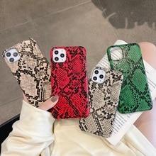 Роскошный кожаный жесткий чехол со змеиным узором для iPhone 11 Pro Max 12 Mini, чехлы для телефонов, милый Ультратонкий чехол с изображением питона для iPhone x xs max xr 10