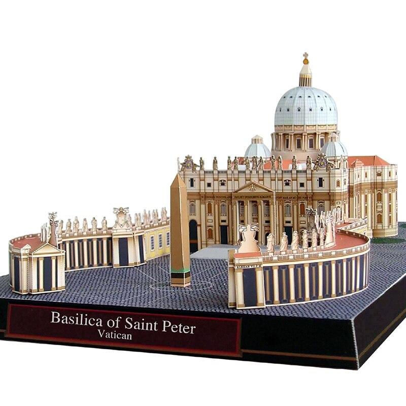 Basílica de san pietro no vaticano dobrável corte mini modelo de papel 3d casa papercraft diy adulto artesanal artesanato brinquedos QD-168
