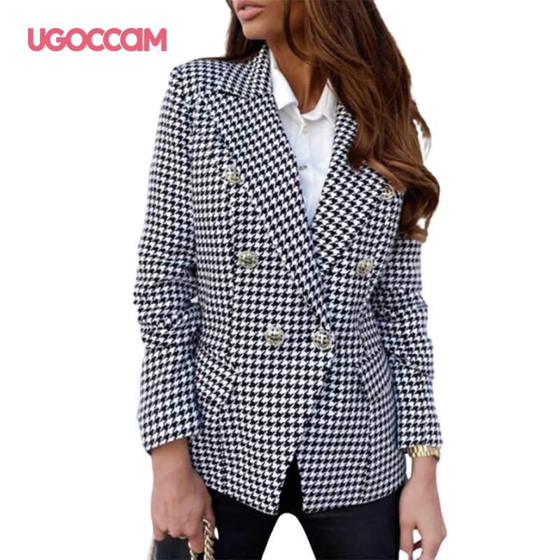 UGOCCAM, Blazer con botones para mujer, Blazer para mujer, chaqueta de trabajo para mujer 2020, chaqueta Formal con estampado para mujer, chaquetas, Blazer para mujer