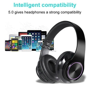 New Arrival 1pc Wireless bluetooth 5.0 Headphones 3.5mm Headset Noise Cancelling Over Ear Immerse Stereo Parts