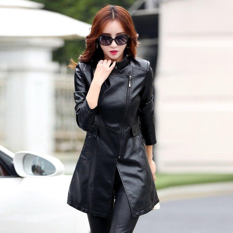 Куртки из искусственной кожи женские осенние и зимние новые тонкие куртки из искусственной кожи для похудения женские длинные кожаные паль...