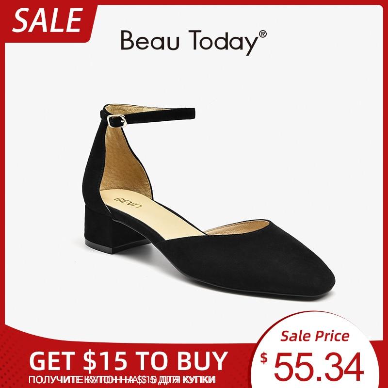 BeauToday-صندل نسائي من الجلد المدبوغ بكعب مربع ، أحذية صيفية مصنوعة يدويًا بإبزيم ، المقاسات A31040