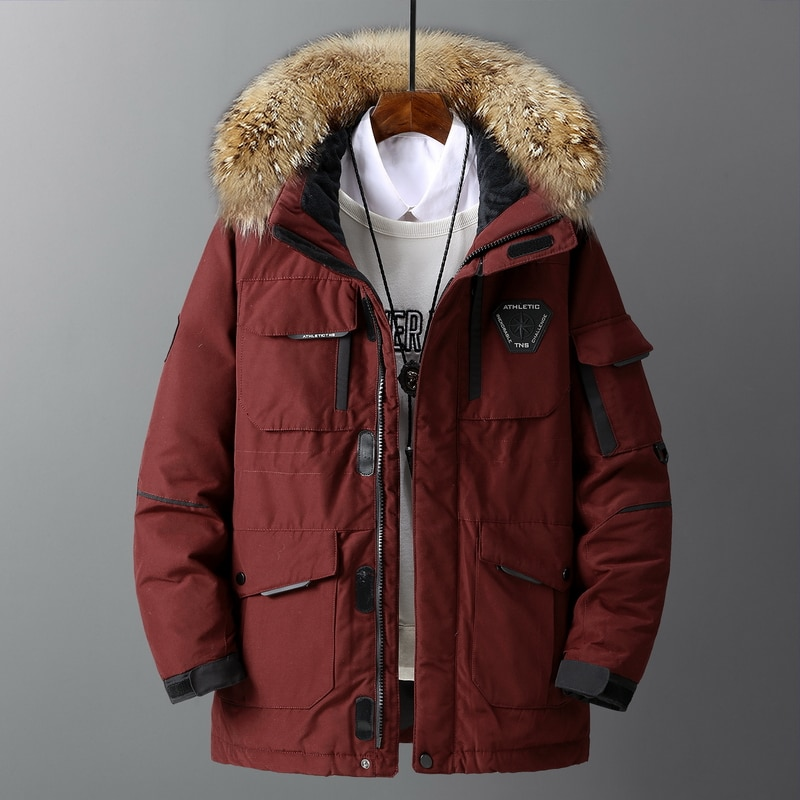 Male Outerwear Trendy Parka Coat 2021 Winter New Style Mens Jacket Casual Cotton-Padded Thick Warm Men Coat Fur Collar Hooded