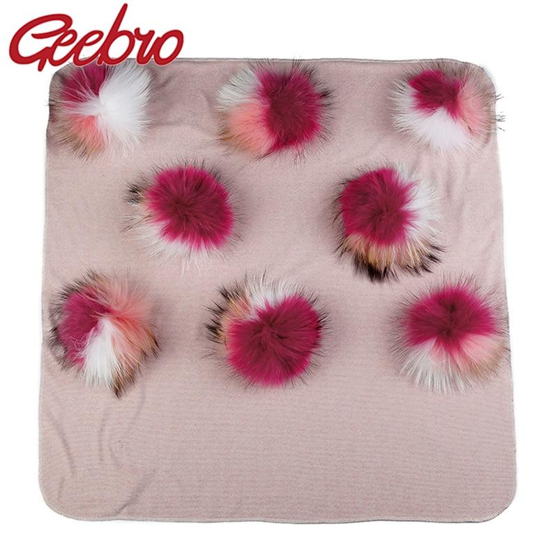 Geebro Warm Cotton Swaddling Blanket Newborn Kids Baby Soft Travel Sleeping Blanket with 8 Real triple color Fur Pompom Bedding