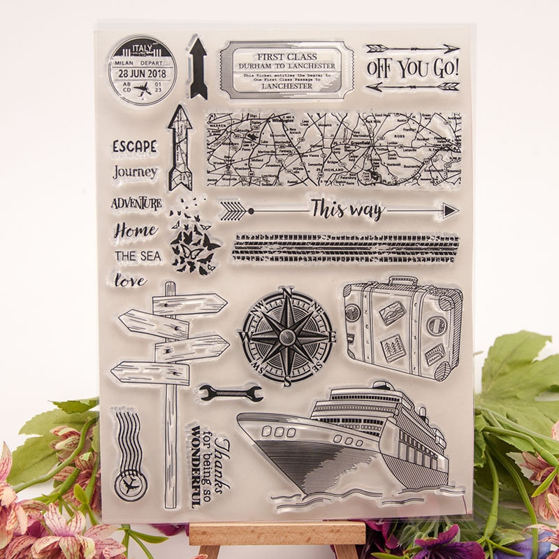 transparent rubber clear stamps for scrapbooking diy wedding photo album cards making decoration silicone stamping seals Navigation Adventure Transparent Clear Stamps / Silicone Seals Roller Stamp for DIY Scrapbooking Photo Album/Card Making