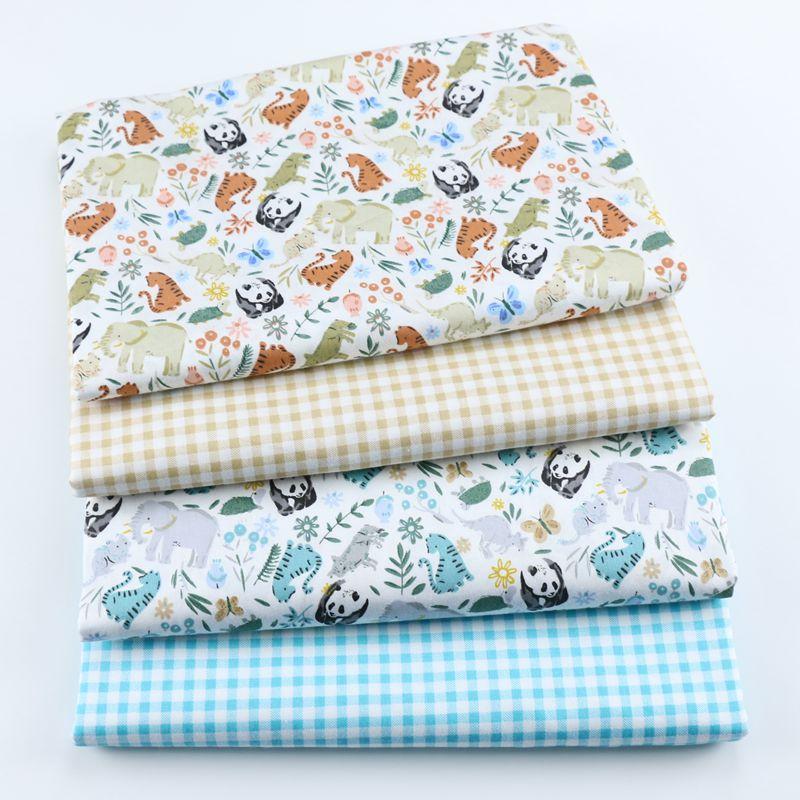 Panda série de animais xadrez floral, tecido de algodão de sarja impresso, pano de patchwork, material acolchoado de costura diy para bebê e criança