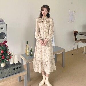 Korean Style Retro Gentle Long Sleeve Floral Dress for Women Spring Temperament Slimming New Fashion lolita dress