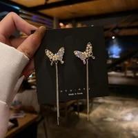 studded pearl butterfly stud female long tassel earrings chain 2020 new style trendy earrings web celebrity earrings
