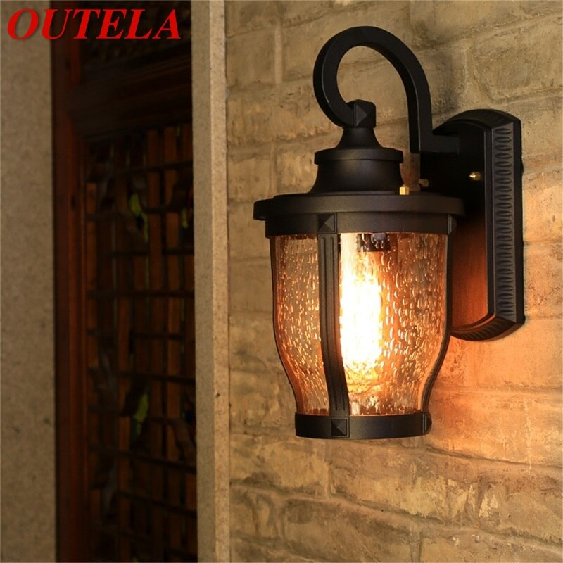 OUTELA Retro Outdoor Wall Sconces Lights Classical Loft LED Lamp Waterproof IP65 Decorative For Home Porch Villa