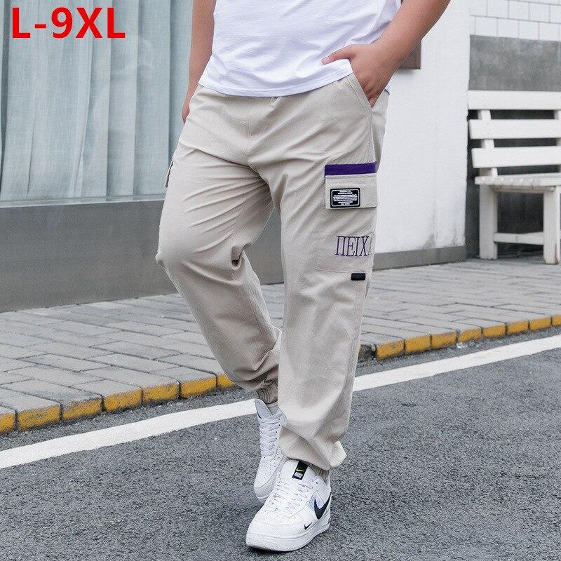 Calças de carga do esporte dos homens corredores hip hop moda masculina harem pant homem meninos plus size 6xl 8xl 9xl algodão esticado verão