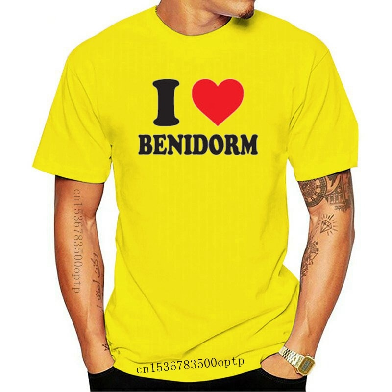 T-shirt manches courtes col rond femme, estival et féminin, 100% coton, I Love Heart Benidorm