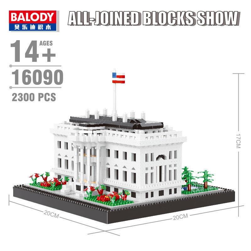 Balody 16090 arquitectura de fama mundial USA la Casa Blanca modelo Mini bloque de construcción de diamante bloques pequeños juguete de montaje 3D