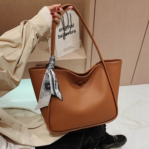 Fashion Ribbon Shoulder Bag Women Quality Soft Leather Handbag Solid Color Simple Underarm Pack Autumn New Shopping Tote Bags