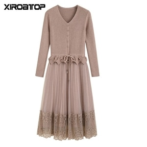 Hot long-sleeved slim lace stitching sweater skirt autumn winter women's fashion bottoming knitted dress Casual Office Vestidos