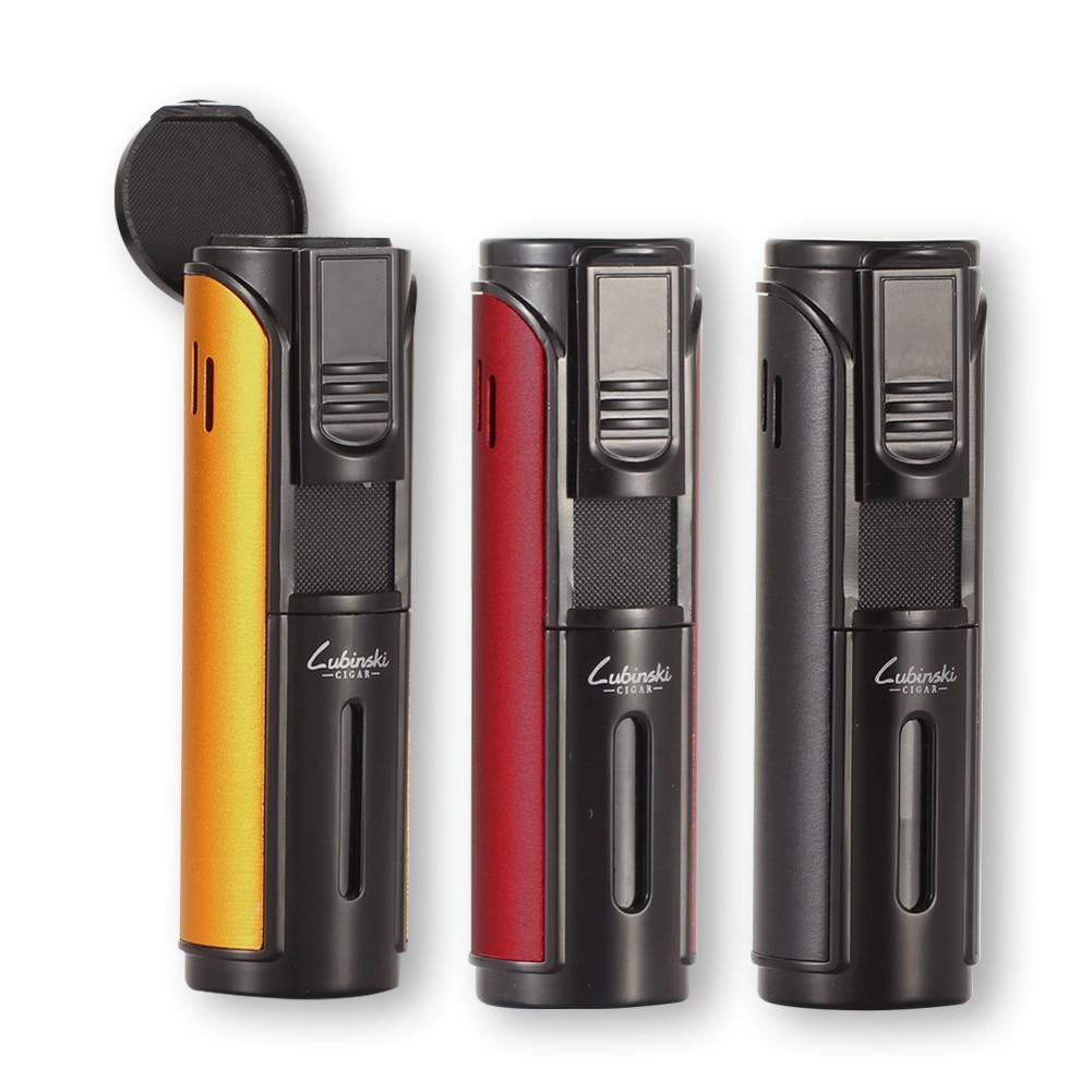 Strip Shape Butane Gas Cigar Lighter Lubinski Windproof 5 Flame Jet Torch Lighter Pocket Metal Cigarette Briquet Cigar Accessory